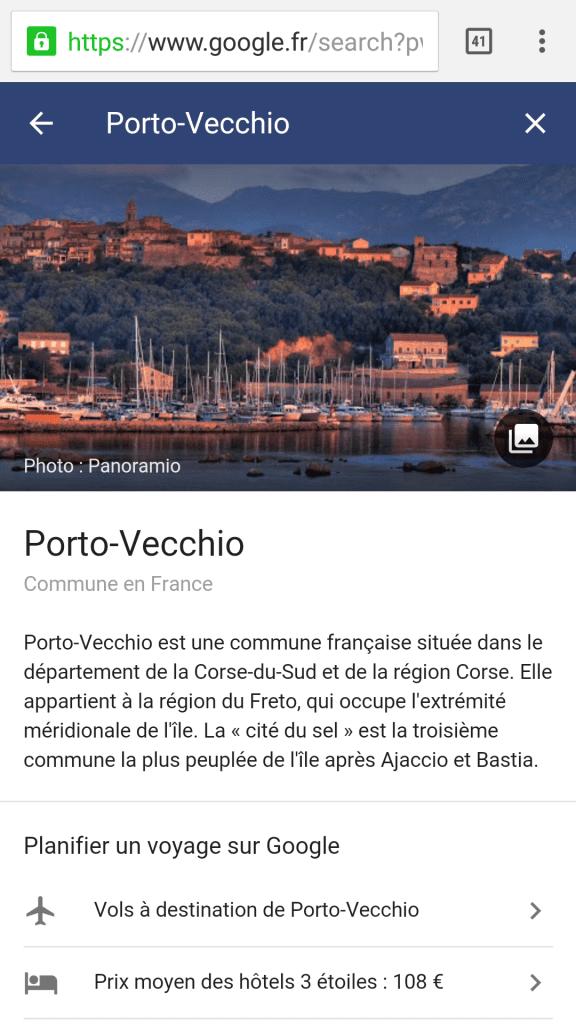 Google corse destination porto vecchio