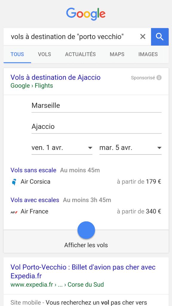 Réserver un avion pour la corse avec Google flight