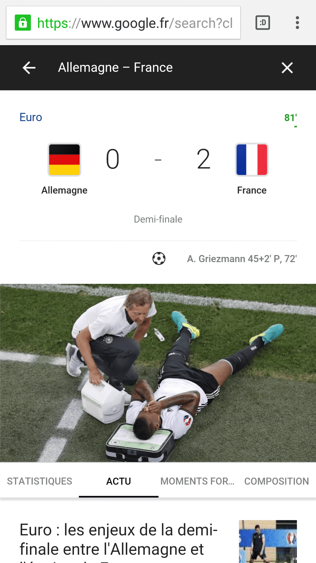Résultat France allemagne 2-0 demi-final euro2016 UEFA