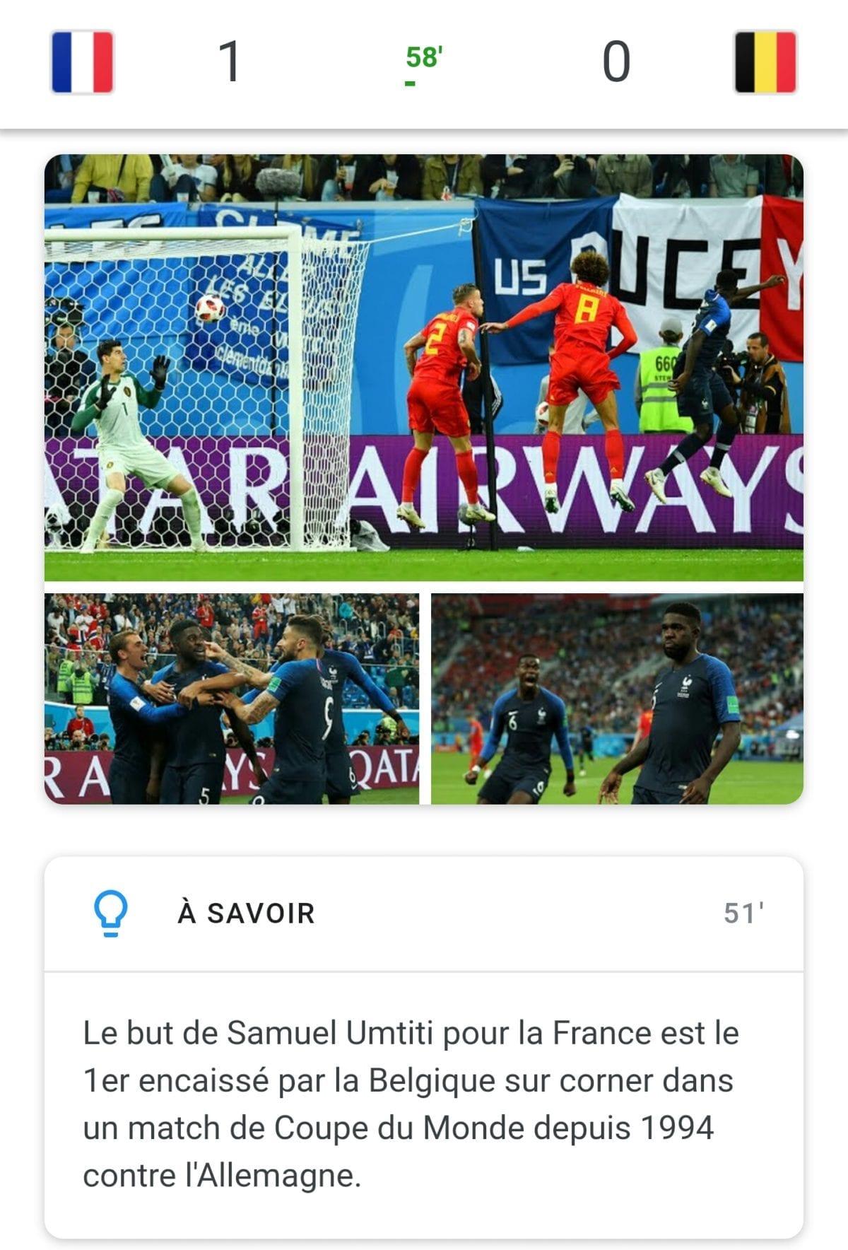 Resultat France – Belgique, la france gagne 1 à 0 en demi finale de la coupe du monde de russie 2018 #frabel